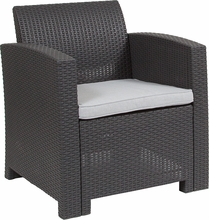 dark grey wicker chair